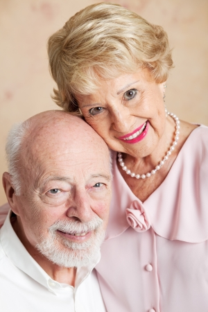 Closeup portrait of a beautiful senior couple in love.   photo