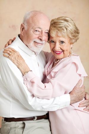 Portrait of a beautiful senior couple embracing.  photo