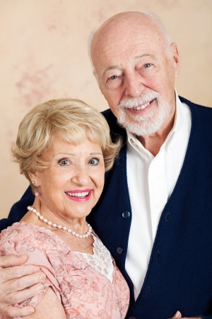 Portrait of sophisticated senior couple dressed up for date.   photo