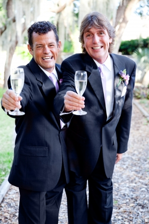 homosexual partners: Two handsome grooms making a champagne toast at their wedding.   Stock Photo