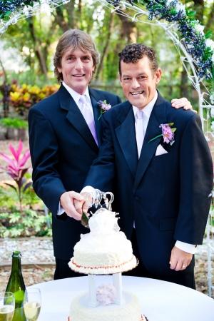 boda gay: Guapo pareja gay cortan la torta en su recepción de la boda.