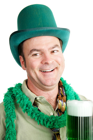 irish ethnicity: Irish American man gets drunk on green beer for St. Patricks Day.