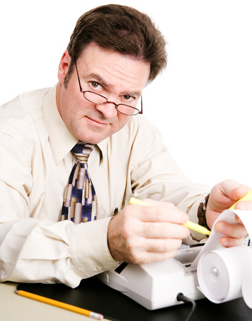 Friendly, competent accountant doing your taxes.   Stock Photo - 27015735