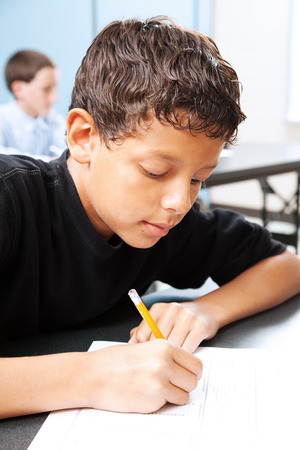 illiteracy: Intelligent school boy taking a standardized test in school.   Stock Photo