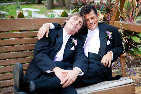 gay men: Gay couple relaxes on a swing after their marriage ceremony.   Stock Photo