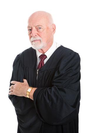 nonsense: Serious no nonsense judge.  Isolated on white.