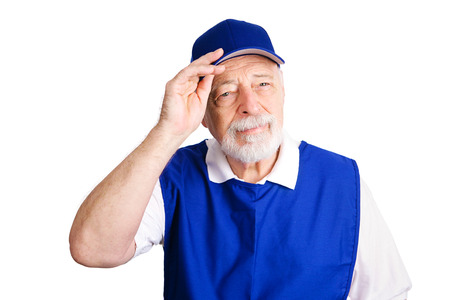 retail chain: Senior man working as a greeter for a retail chain because he lost his retirement pension.