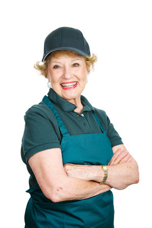 Senior woman works as a server to keep busy in retirement.  Isolated on white.   photo
