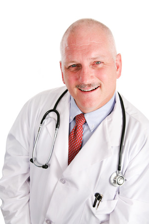 doctors tools: Portrait of handsome middle aged doctor with thinning gray hair.  White background