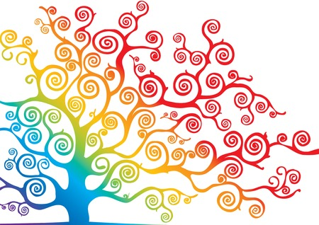 colorful tree: colorful tree with curved branches