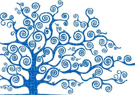 modulate: tree textured puzzle Stock Photo