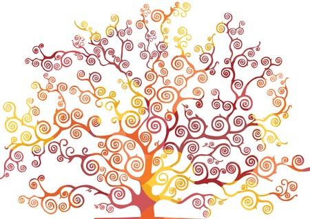 warm colors: árbol con ramas curvadas, colores cálidos