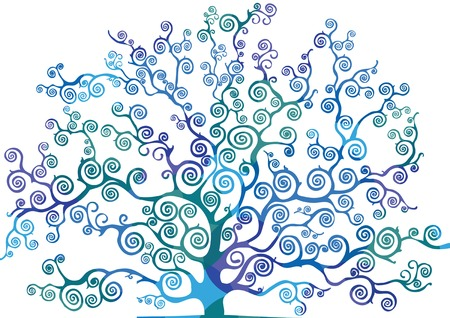 cool colors: tree with curved branches, cool colors