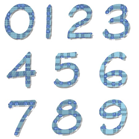 eg: Group of colored numbers on white background