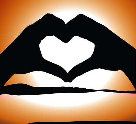 manos unidas: silueta de dos manos unidas con la forma de un coraz�n