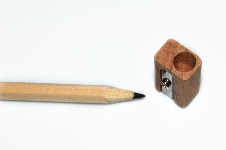 pencil and sharpener wood on white background