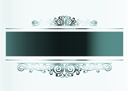 metal base: background with green metal floral decoration on neutral base Stock Photo