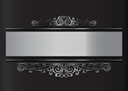 black and silver background: background with silver floral decoration on neutral base