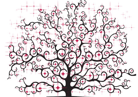 colored stylized tree on neutral background