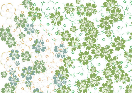 green flowers: graphic background with group of colorful flowers