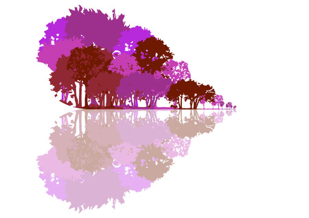 love life: graphic background with trees shaped heart