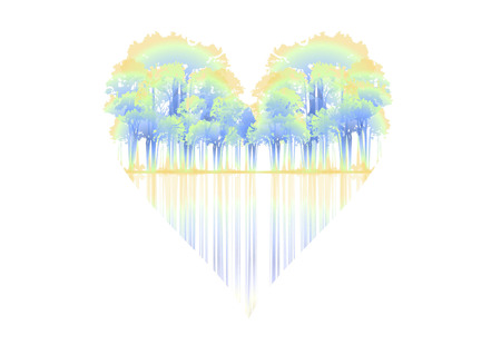 passion ecology: graphic background with trees shaped heart