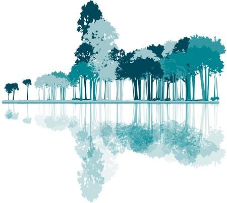 中立的な背景の森のイラスト