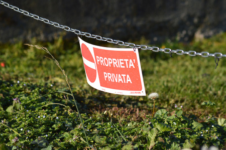 private property: Chain sign of private property Stock Photo