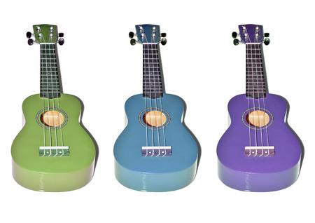 ukelele: colorful ukulele wood on white background
