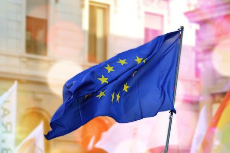 the european economic community: single European flag flying over blurred Stock Photo