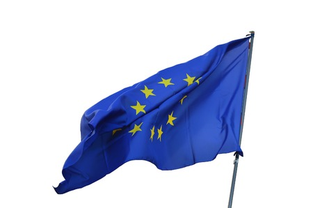 european economic community: single European flag flying over blurred Stock Photo