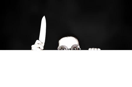 killer: girl killer with knife in hand on neutral background