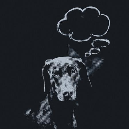 photomontage: photomontage, brown Doberman front of blackboard with balloon