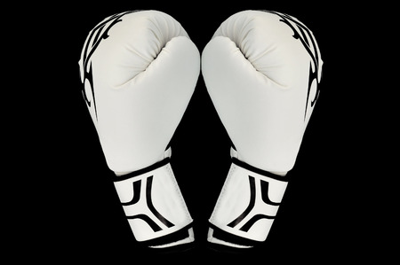 white gloves: two white gloves box on neutral background Stock Photo