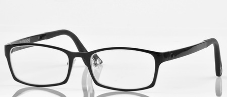 testing vision: glasses with black frames on white background Stock Photo