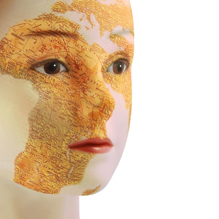 geographical: face of a woman with a geographical map on neutral background