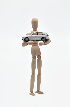 dashing: dummy that protects a car on white background