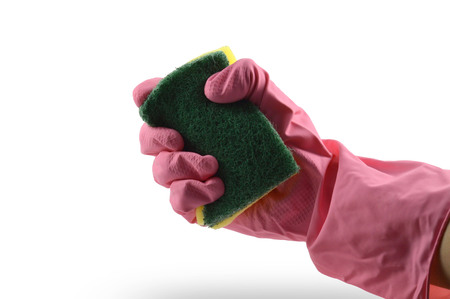 rubber glove: Rubber glove with sponge on white background