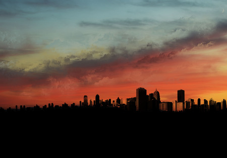 roof profile: landscape with sunset with the city in the foreground Stock Photo