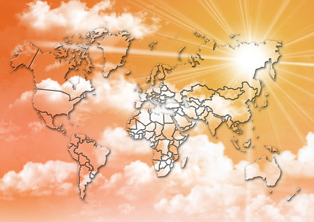 forecasts: graphic background with world map on the sunset sky with fluffy clouds