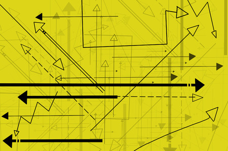 multidirectional: yellow background with multi-directional arrows