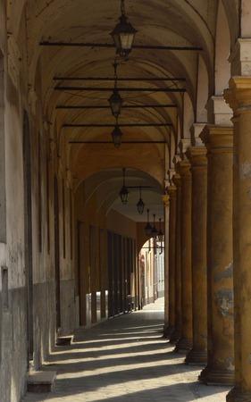 portico: ancient portico with stone columns