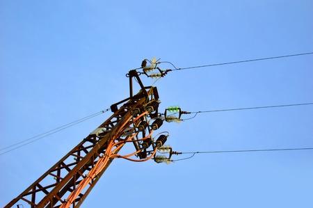 telephone pole: telephone pole on blue sky