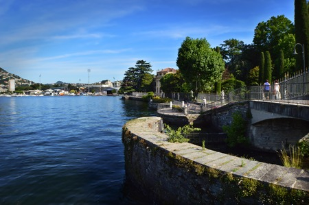 lakefront: lakefront of Como Lake with blue sky Stock Photo