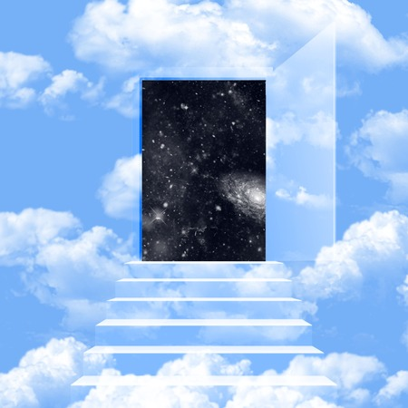 blue sky with white clouds and brings about the universe