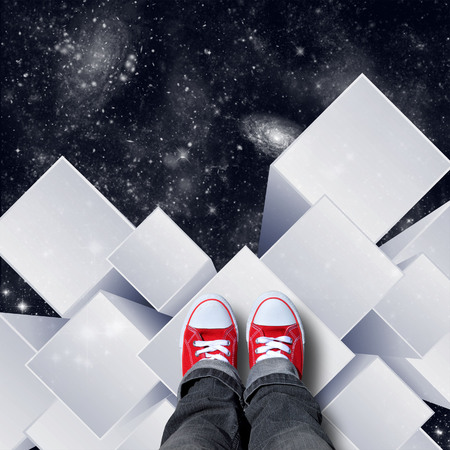 red shoes on white cubic space