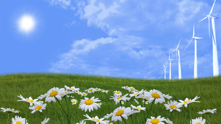 flowery meadow with blue sky and wind turbines