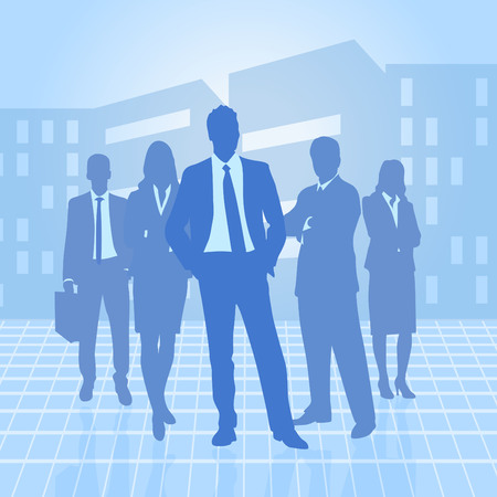 group of business men over city background Stock Photo