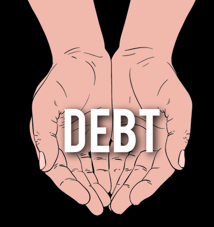 third world economy: hands with message: DEBT, on a black background