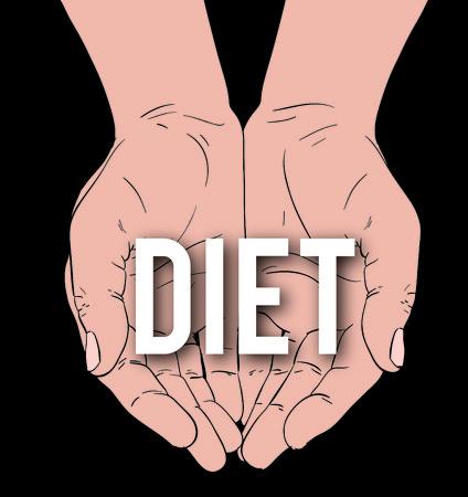levantar peso: manos con mensaje: DIETA, sobre un fondo negro